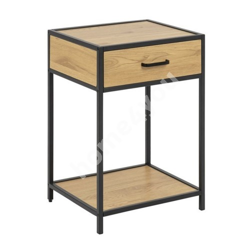 Bed side table SEAFORD 42x35xH63cm, with drawer, material: laminated particle board, color: oak, frame: black metal