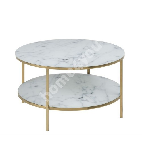 Coffee table with shelf ALISMA D80xH45cm, glass- white marble print/ gold