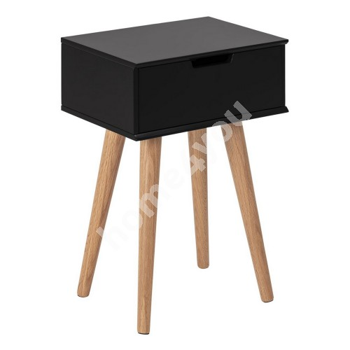 Night stand MITRA 40x30xH61,5cm, drawer, material: wood, color: black, legs: oak