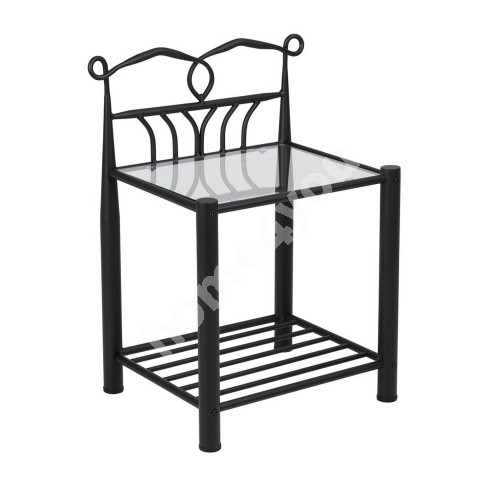 Bed side table LINE, 50x37xH66cm, top plate: glass, frame: metal, color:  black