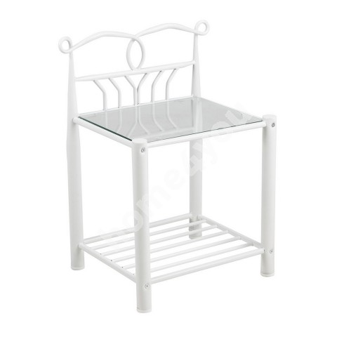 Bed side table LINE, 50x37xH66cm, top plate: glass, frame: metal, color:  white