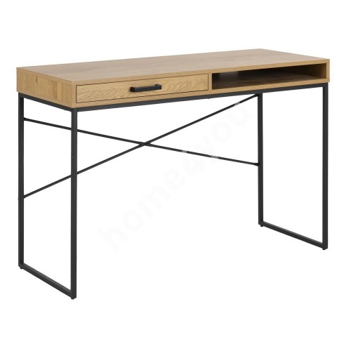 Desk SEAFORD 110x45xH75cm, with drawer, table top: paper wild oak, frame: black