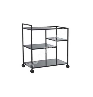 Kitchen trolley NEWCASTLE, 3-shelves, black steel