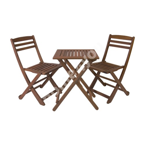Set ROUEN table and 2 chairs (06238), 50x50xH68cm, foldable, wood: meranti, finishing: oiled