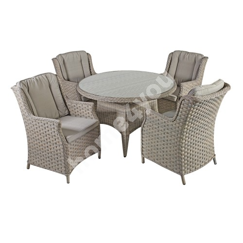 Garden furniture set PACIFIC with 4-chairs (10494) D120xH75cm, aluminum frame with plastic wicker, color: greyish beige