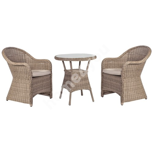 Garden furniture set TOSCANA with 2 chairs (10522) D65xH73cm, aluminum frame with plastic wicker, color: greyish beige