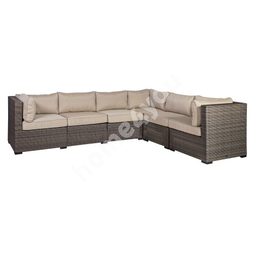 Set SEVILLA with cushions, corner sofa and table 102x50,5xH43,5cm, aluminum frame with plastic wicker, color: dark brown