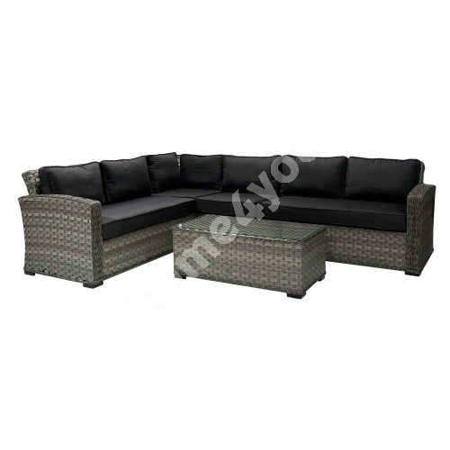 Set GENEVA with cushions, corner sofa and table 105x51xH39cm, aluminum frame with plastic wicker, color: dark grey