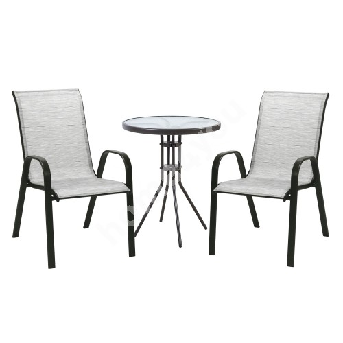 Garden furniture set DUBLIN table and 2 chairs (11873) silver grey