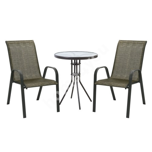Garden furniture set DUBLIN table and 2 chairs (11874) golden brown