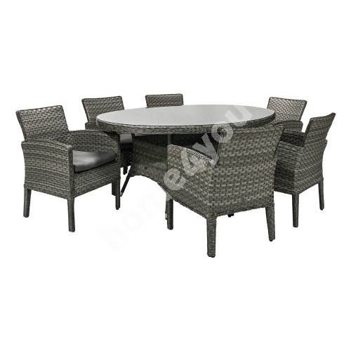 Set GENEVA table and 6 chairs (11869), 180x120xH73cm, table top: clear glass, aluminum frame plastic wicker, color: grey