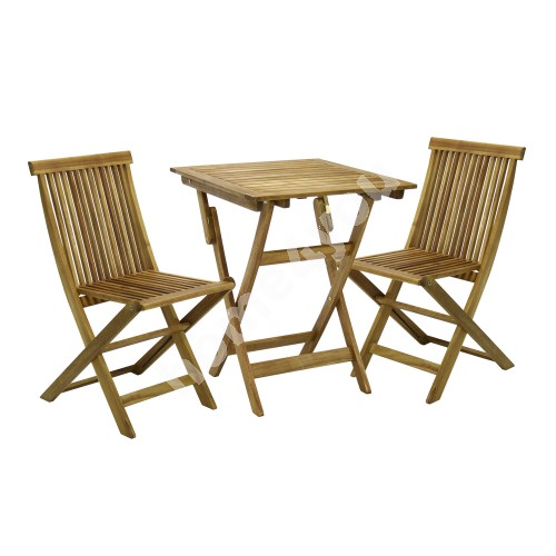 Set FINLAY table and 2 chairs (13181), 60x60xH72cm, foldable, wood: acacia, finish: oiled