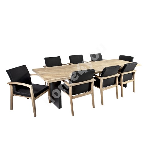 Dining set ROYAL with 8-chairs (13258) 280x100xH76cm, table top: teak, finishing: rustic, not oiled, grey aluminum legs