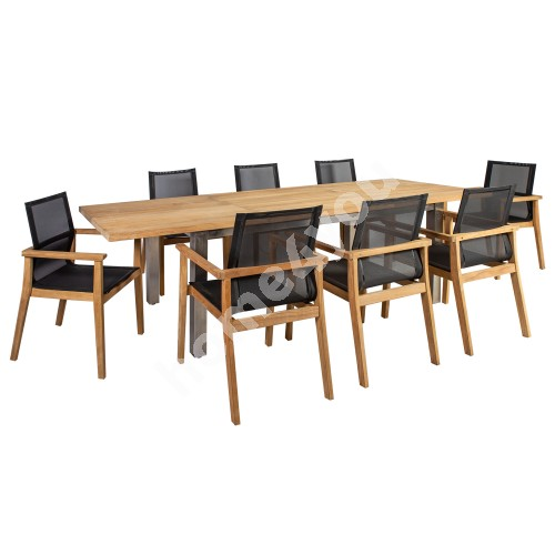 Dining set NAUTICA with 8-chairs (13259)  200/300x100xH76cm, table top: rustic teak, not oiled, stainless steel  legs