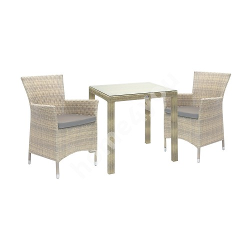 Set WICKER table and 2 chairs (1270), 73x73xH71cm, aluminum frame with plastic wicker, color: beige