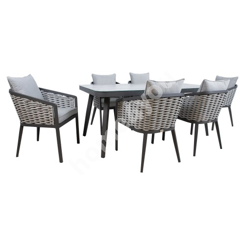 Garden furniture set MARIE table and 6 chairs (13685), grey