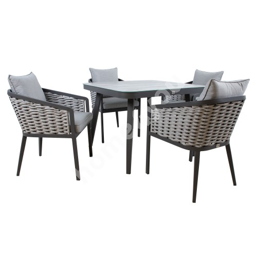 Garden furniture set MARIE table and 4 chairs (13685), grey