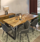 Обеденный комплект ROTTERDAM с 6-стульями (37049) 220x100xH75см, мебельная доска натуральном рустикальном шпоном дуба