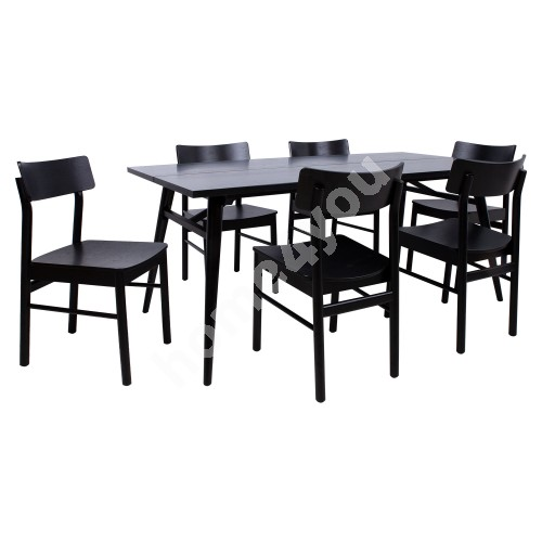 Dining set ODENSE with 6 chairs (18125) black