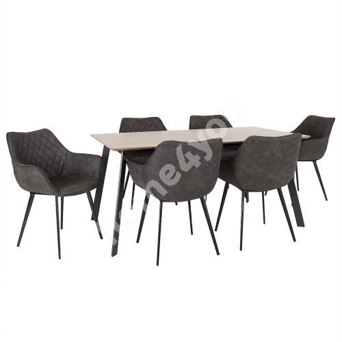 Dining set HELENA 1with 6-chairs (37049) table top: MDF with oak veneer, metal legs
