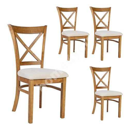Chairs MIX & MATCH 4pcs set, natural white seat