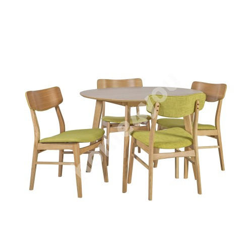 Dining set JAXTON with 4-chairs (20862) table top: MDF with natural oak veneer, legs and frame: rubber wood, color: oak
