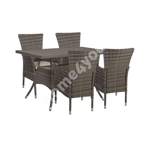 Garden furniture set PALOMA with 4-chairs (21135) 120x74xH72,5cm, table top: polywood, color: brownish gray