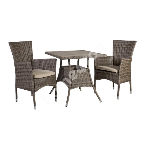 Garden furniture set PALOMA with 2-chairs (21135) 74x74xH72,5cm, table top: polywood, color: brownish gray