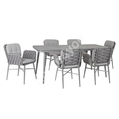 Garden furniture set ANDROS with 6 chairs (21170) aluminum frame with rope weaving