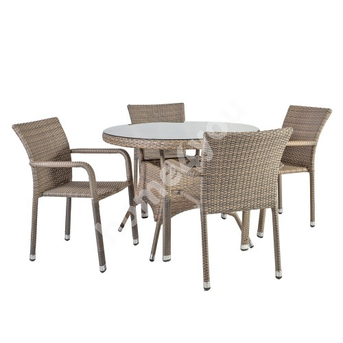 Garden furniture set LARACHE table and 4 chairs (2102) table top: clear glass, aluminum frame with plastic wicker