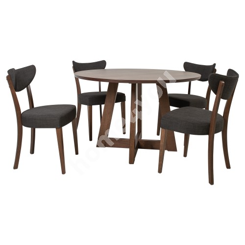 Dining set ADELE with 4 chairs (21923), dark beech