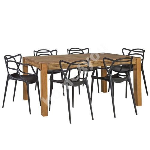 Dining set CHICAGO NEW with 6-chairs (30027) table top: MDF with natural oak veneer, finish: oiled