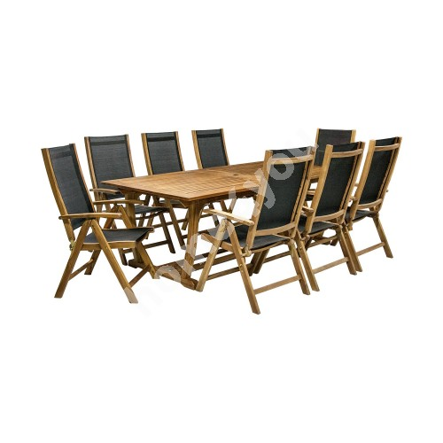 Set FUTURE table and 8 chairs (2782), 210/300x110xH73cm, extendable, wood: acacia, finish: oiled