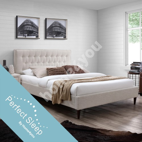 Bed EMILIA with mattress HARMONY DELUX (85265) 90x200cm, frame is covered with fabric, color: light beige