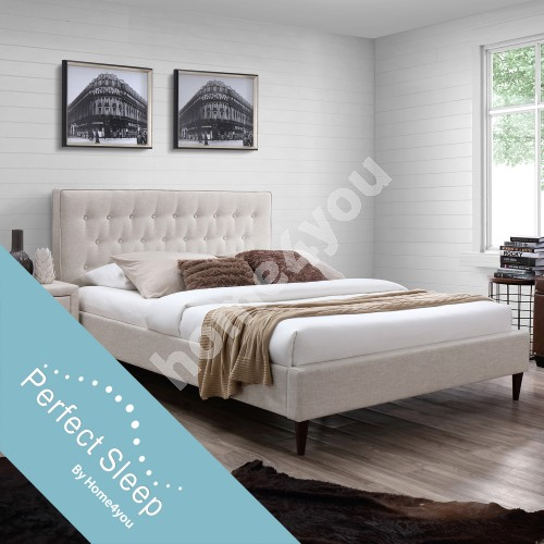 Bed EMILIA with mattress HARMONY DUO (86743)140x200cm, beige