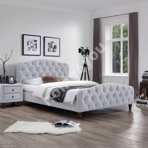 Bed SANDRA with mattress HARMONY DUO (86744) 160x200cm, frame is covered with fabric, color: light brown