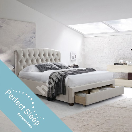 Bed NATALIA with drawer, with mattress HARMONY DELUX (85266) 160x200cm, frame is covered with fabric, color: champagne