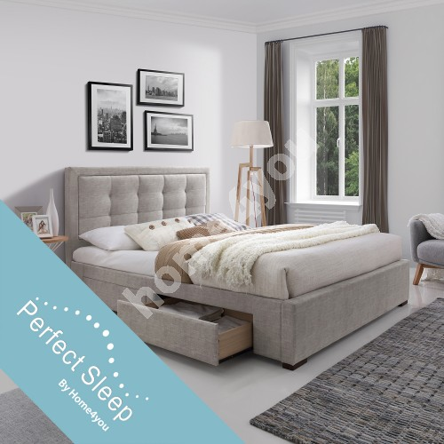 Bed DUKE with 4 drawers, with mattress HARMONY DUO (86744) 160x200cm, frame is covered with fabric, color: beige