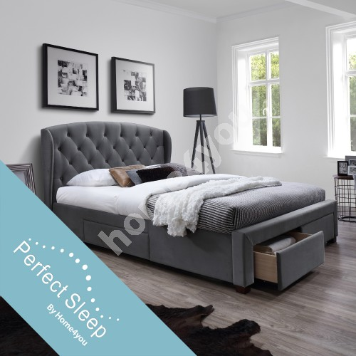 Bed LOUIS with 4 drawers, with mattress HARMONY DUO (86744) 160x200cm, frame is covered with fabric, color: grey