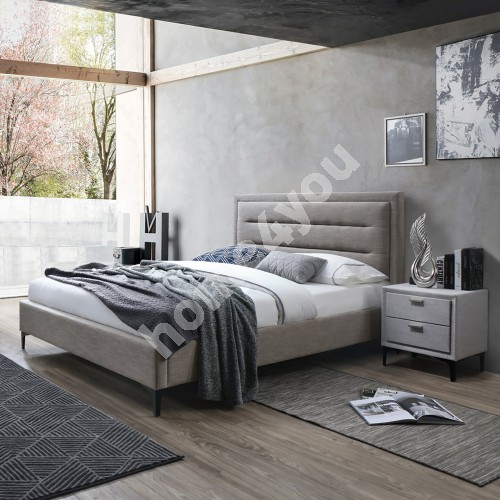 Bed CELINE with mattress HARMONY DELUX (85266) 160x200cm, frame is covered with fabric, color: grayish beige