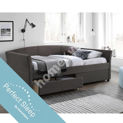 Bed GENESIS with mattress HARMONY UNO (86871) 90x200cm, 2-drawers, frame is covered with  grey fabric