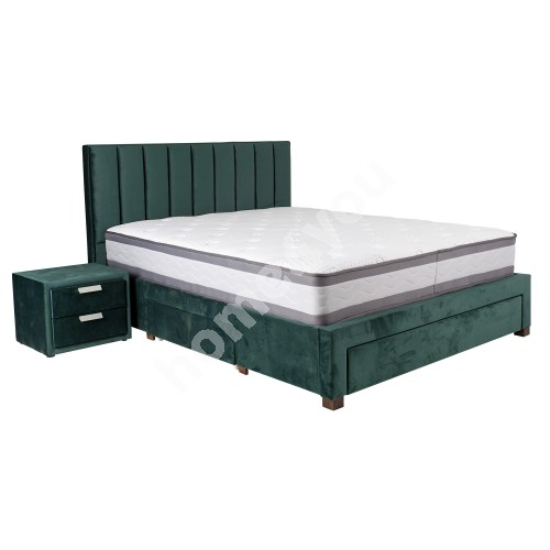 Bed GRACE with mattress HARMONY DUO (86744) 160x200cm, with 3-drawers, frame is covered with fabric, color: green
