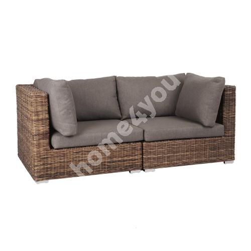 Sofa CROCO with cushions 186x93xH73cm, natural rattan weaving