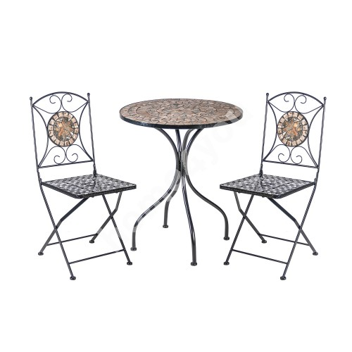 Set MOSAIC table and 2 chairs (38665), D60xH70cm, mosaic top: dark grey/brown stone, metal frame, color: black