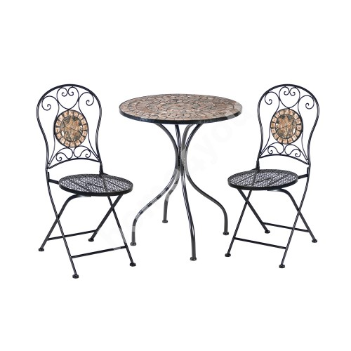 Set MOSAIC table and 2 chairs (38666), D60xH70cm, mosaic top: dark grey/brown stone, metal frame, color: black