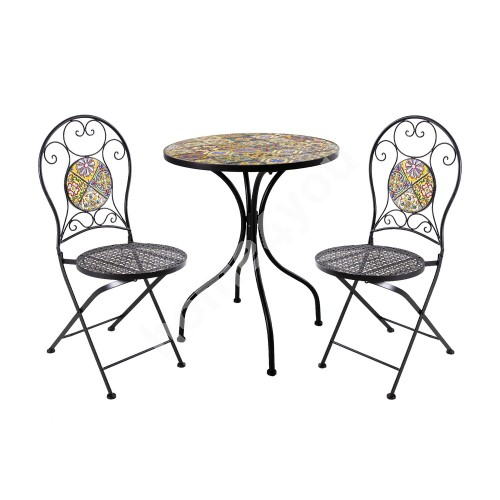 Balcony set MOROCCO table and 2 chairs (38682) mosaic top with colored motifs, black metal frame