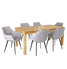 Söögilauakomplekt CHICAGO NEW 6-tooliga (37046) täispuit / MDF tammespooniga, õlitatud