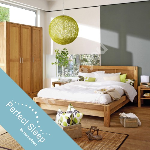 Bed CHICAGO NEW with mattress HARMONY DUO (86744) 160x200cm, wood: oak veneer, color: natural