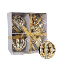 Klaaskuul 4tk LUXO D10cm, kuldne triip