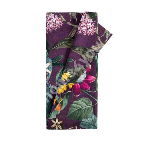 Table mat AMAZONIA 43x116cm, flowers/violet, 100%cotton